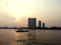 Chaophraya river. Sunset @Chaophraya river Stock Photos