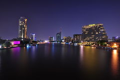 Chaopraya river at night Royalty Free Stock Images