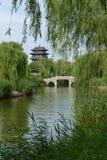 Chaoran Tower in Daming Lake in Jinan stock image
