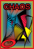 CHAOS. Great creative abstract colored bright saturated symbolic image disorderly chaotic clutter of objects and inscriptions CHAOS Stock Image