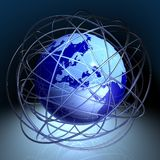 Chaos around globe. 3D rendered shiny metallic globe with random semi-transparent rings Royalty Free Stock Image