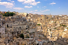 Chaos is Beauty. The winding streets and uneven ancient landscape of the caves in Sassi di Matera, Italy royalty free stock photos