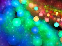 Chaos bubbles - abstract digitally generated image. Chaos bubbles - abstract computer-generated image. Fractal art: randomly placed colourful circles. Festive Royalty Free Stock Photo