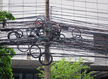 The chaos of cables and wires on asoke road Stock Images