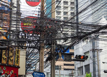 The chaos of cables and wires on asoke road Royalty Free Stock Photo