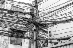 The chaos of cables and wires. In city Royalty Free Stock Images