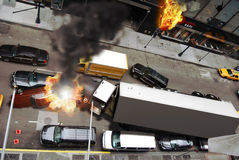 Chaos in the city. View of a city street since the window of a building. Nobody in the street, abandoned cars, damaged cars in flames and an overturned big truck stock illustration