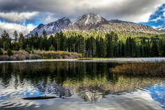 Chaos Crags reflected in Manzanita Lake, Lassen National Park Royalty Free Stock Photos