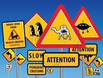 Chaos de panneaux routiers Images libres de droits
