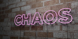 CHAOS - Glowing Neon Sign on stonework wall - 3D rendered royalty free stock illustration. Can be used for online banner ads and direct mailers Stock Images