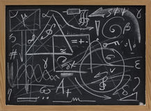 Chaos or information overload concept. Random lines, geometrical shapes, symbols on a blackboard - chaos, mess or information overload concept Royalty Free Stock Photos