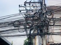 Chaos kable i druty dla komutaci zdjęcia stock