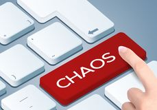 Chaos keyboard key. Finger push the button.  stock photography