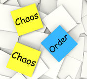 Chaos Order Post-It Notes Show Disorganized Or. Chaos Order Post-It Notes Showing Disorganized Or Ordered Stock Photo
