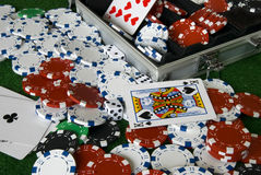 Chaos in poker box Stock Photography