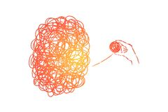 Chaos und Verwirrung, Komplikation, Problem, schwierige lösende Situation, Psychotherapiemetapher stock abbildung
