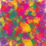 Chaos van kleurrijke harten royalty-vrije illustratie