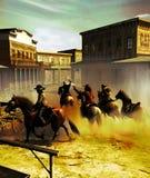 Chaos w miasteczku po napad na bank ilustracja wektor