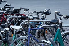 Chaotic bicycle/bike parking in a city - public transport. Chaotic bicycle/bike parking in a city - transport, public transport - stolen bikes, old bikes, bike Stock Photos