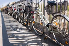 Chaotic bicycle/bike parking in a city - transport, public transport - stolen bikes, old bikes, bike theft stock photos