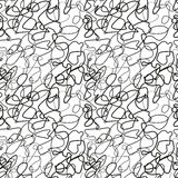 Chaotic black lines on white, seamless pattern Stock Photo