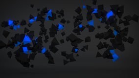 Chaotic Blue particles abstract 3D render Stock Photos