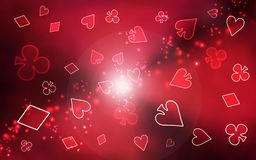 Background simple raster illustration. A chaotic red raster pattern of playing cards symbols vector illustration