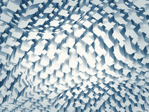 Chaotic blue square pattern on a curved surface, 3d Royalty Free Stock Photography