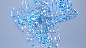Chaotic bundle of blue spheres 3D render. Chaotic bundle of blue spheres. Abstract sci-fi computer graphics. 3D render vector illustration