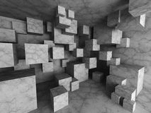 Chaotic concrete cubes architecture background. 3d render illustration Royalty Free Stock Photos