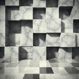 Chaotic concrete cubes blocks wall. Empty dark room interior. Ar. Chitecture background. 3d render illustration Stock Image