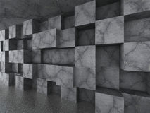 Chaotic concrete cubes wall architecture background. 3d render illustration Stock Images