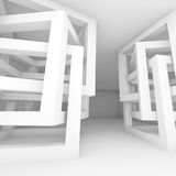 Chaotic cube constructions, 3d illustration. Abstract empty white modern interior square fragment with chaotic cube constructions, 3d illustration Stock Photo