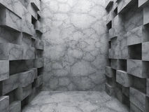 Chaotic cubes construction. Empty dark concrete room interior. 3d render illustration Royalty Free Stock Photo