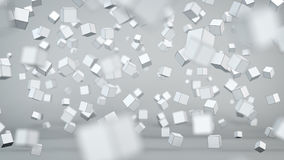 Chaotic cubes particles abstract 3D render. Chaotic cubes particles. Abstract 3D render with Depth of field Stock Image