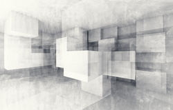 Chaotic cubes structure. 3d render with texture Royalty Free Stock Images