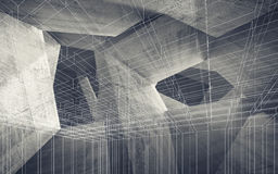 Chaotic 3d structures and wire-frame lines. Abstract concrete interior with chaotic structures and wire-frame lines. Modern architecture background, Digital 3d stock illustration