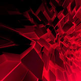 Chaotic dark red polygonal blocks 3d. Abstract square digital background, chaotic dark red polygonal blocks pattern, 3d illustration Royalty Free Stock Photo