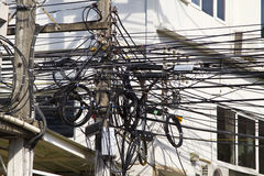 Chaotic Electric Wiring Royalty Free Stock Photos