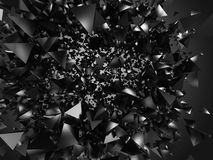 Chaotic explosion flying of silver dark triangle particles. Abst Royalty Free Stock Image