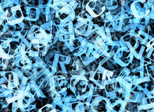 Chaotic flying of many abstract blue alphabet letters Stock Images