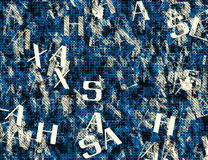 Chaotic flying of many abstract blue alphabet letters Stock Photo