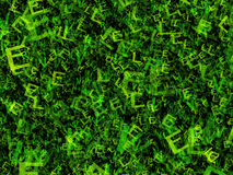 Chaotic flying of many abstract green alphabet letters Royalty Free Stock Photo