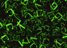 Chaotic flying of many abstract green alphabet letters Royalty Free Stock Images