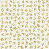 Chaotic golden ancient symbols charms magic signs seamless pattern background vector illustration