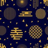 Chaotic golden geometric festive pattern. Seamless vector background with Japanese, Chinese, Korean motifs. Modern composition with ornate circles and different Stock Images