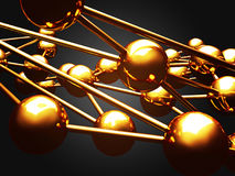 Chaotic golden globe spheres abstract background Royalty Free Stock Image