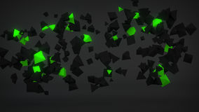 Chaotic Green particles abstract 3D render. Chaotic Green particles. Abstract 3D rendering Royalty Free Stock Image