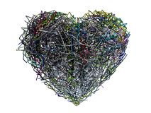 Chaotic heart. With colorful wire royalty free illustration