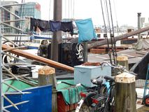 Chaotic life on a ship in Amsterdam stock photography